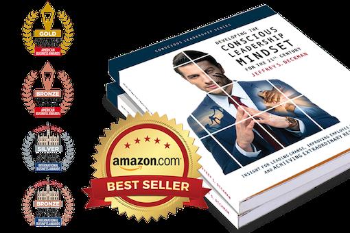 Jeffrey Deckman Conscious Leadership book and logos of stevie awards it has won