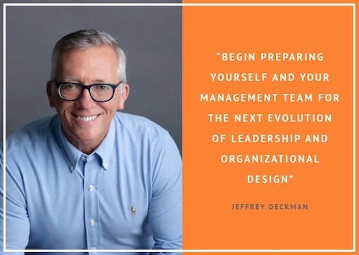 Jeffrey Deckman in blue shirt with a quote on next evolution leadership