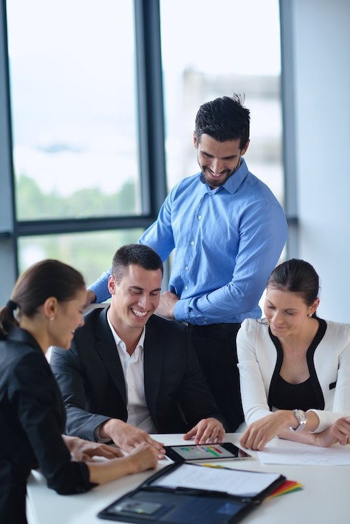 Team of leaders going through organizational development