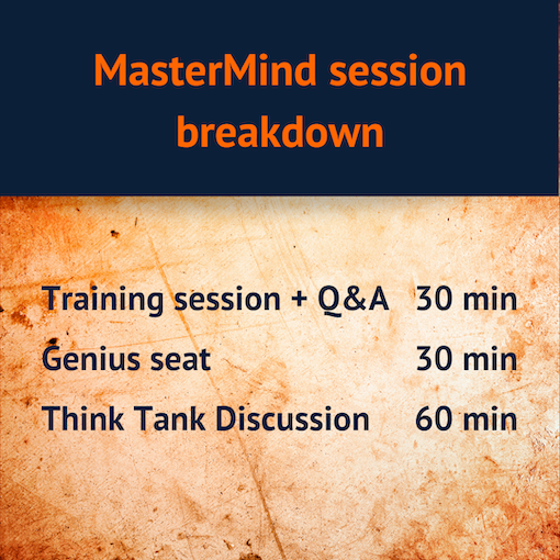 Table of MasterMind session content
